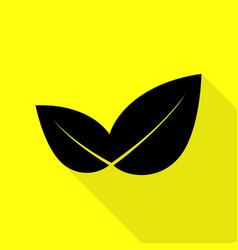 Leaf sign black icon with flat style vector