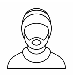 Man wearing rastafarian hat icon outline style vector