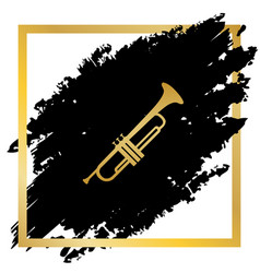 musical instrument trumpet sign golden vector image vector image