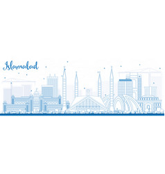 Outline islamabad skyline with blue buildings vector