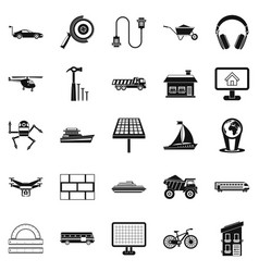 Plot icons set simple style vector