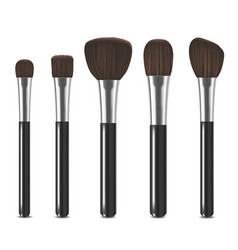 Realistic detailed cosmetic brushes set vector