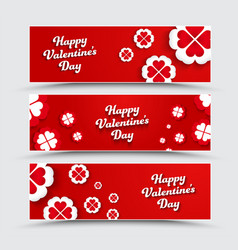 Set of horizontal banners happy valentines day vector