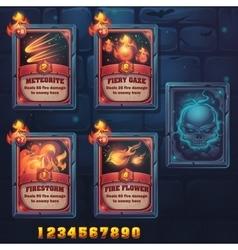 Set spell cards of meteorite fiery gaze vector