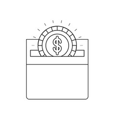 Silhouette front view flat coin with dollar symbol vector