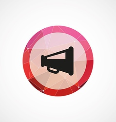 Speaker circle pink triangle background icon vector