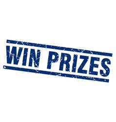Square grunge blue win prizes stamp vector