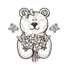 Teddy bear with flowers vector