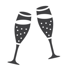 Two glasses of champagne glyph icon valentines vector