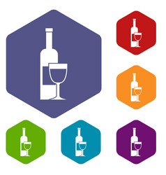 Wine bottle and glass icons set hexagon vector
