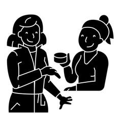 Woman shop cosmetics consultant icon vector