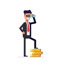 Businessman looking through binoculars and is on vector