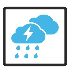Thunderstorm clouds framed icon vector