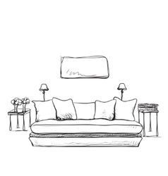 Sketch of modern living room interior vector