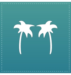 Two palm trees silhouette isolated vector
