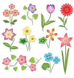 Spring flower icon set Tulip chamomile daisy vector image