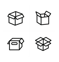 Set of parcel box open box icons vector