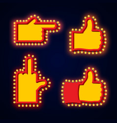 Pointers hand glowing lights set retro thumbs up vector