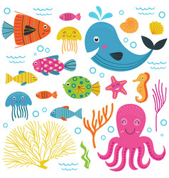 Set of isolated with marine animals part 1 vector
