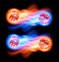 Set of two red dice in fire vector