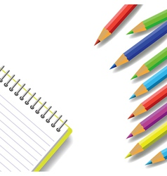 Notebook and pencils vector
