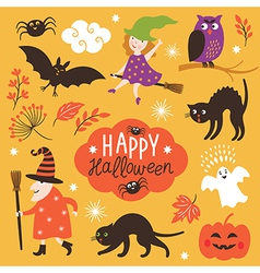 Set of cute halloween elements vector