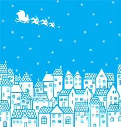 Santa over the city vector