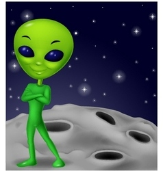 Green alien cartoon vector image