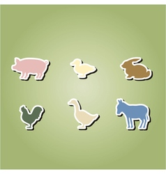 Set of color icons with domestic animals vector