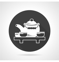 Tea ceremony black round icon vector