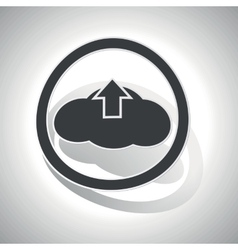 Cloud upload sign sticker curved vector