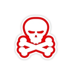 Icon sticker realistic design on paper skull bones vector