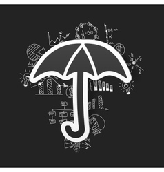 Drawing business formulas umbrella vector