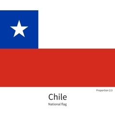 National flag of chile with correct proportions vector