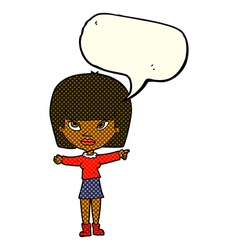 Cartoon woman pointing with speech bubble vector
