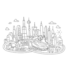 Hand line drawing futuristic city architecture vector