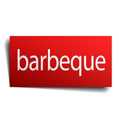 Barbeque red paper sign isolated on white vector