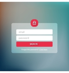 Member login form interface for web page site vector