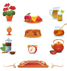 Red breakfast icons set vector image