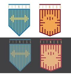 Fitness rhythm style shields set with kettlebell vector