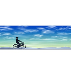 A Girl on a Bicycle vector image vector image