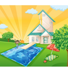 a house and a girl vector image vector image