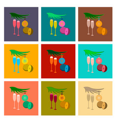 Assembly flat glasses champagne oranges vector
