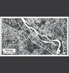 bremen germany city map in retro style outline map vector image