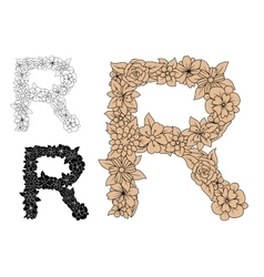 Brown vintage floral uppercase letter r vector