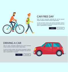 Car free day and driving car vector