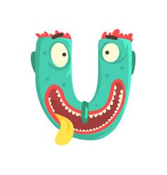 cartoon character monster letter u vector image