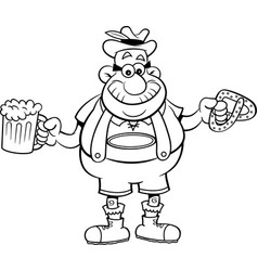 cartoon man holding a beer and a pretzel vector image vector image