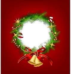 Christmas garland with bells and holly berry vector