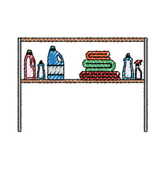 Colored crayon silhouette of rack with clothing vector